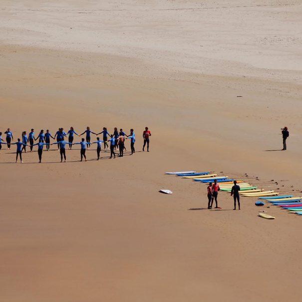 calentamiento en la concha los locos surf school
